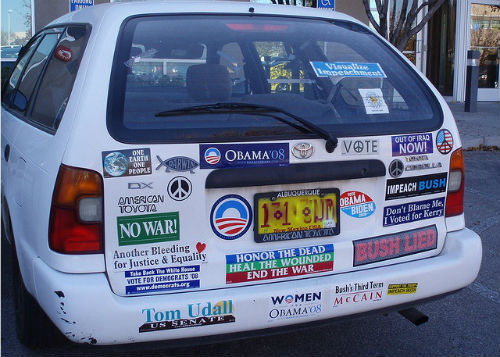 I will judge you based on your political bumper stickers
