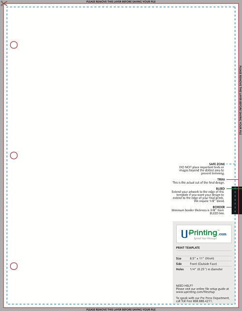 Sales Sheet with 0.25 Hole Template