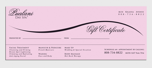 Custom Gift Certificate Sample_01  Gift Certificate Wording