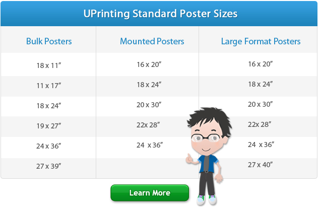 Standard Poster Sizes For Printing Design