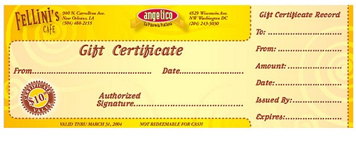 Restaurant Gift Certificates Custom Gift Cards Uprinting Com